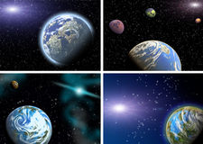 Planets in a space. Collage. Stock Images