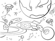 With planets space coloring raster for adults. Space with planets, rockets, spaceships, UFO, constellations coloring book for adults raster illustration. Anti royalty free illustration