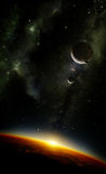 Planets in space with nebula. Illustration of an alien planet viewed from orbit in space with three moons and the sun setting over its horizon. The side view of Stock Photo