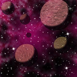 Planets in space. Planets and satellites in black starry background Royalty Free Stock Photo