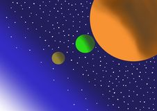 Planets in space on starry background stock illustration