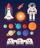 Space copy. The planets, space, universe, earth colonization concept.  Flat vector illustration. Trendy design Royalty Free Stock Photography