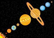 Planets standing in line Stock Photo