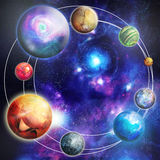 Planets in the star sky royalty free illustration
