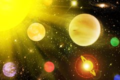 The planets in the star sky Royalty Free Stock Photos