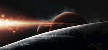 Planets on a starry background. Fantasy scene Stock Images