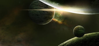 Planets on a starry background. Fantasy scene Stock Photography