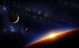 Planets and stars. Illustration of a planet viewed from orbit in space with the sun setting over its horizon, two moons, the milkyway and nebulae. Lights of Stock Photos