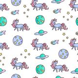 Unicorns in space seamless vector pattern. Royalty Free Stock Images