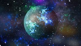 Colored nebula and open cluster of stars in the universe. Elements of this image furnished by NASA. Stock Photography