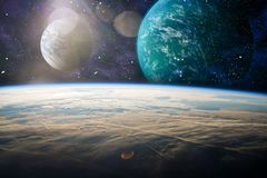 Earth Observation.The view of space from the earth . Panets, stars and galaxies . Elements furnished by NASA. Planets, stars and galaxies in outer space showing Royalty Free Stock Photo