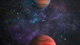 Planets, stars and galaxies in outer space showing the beauty of space exploration. Elements furnished by NASA. Space many light years far from the Earth Stock Photography