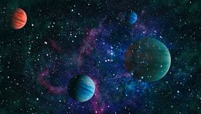 Planets, stars and galaxies in outer space showing the beauty of space exploration. Elements furnished by NASA. Space many light years far from the Earth Stock Image