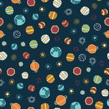 Planets and stars seamless vector background. Doodle space galaxy design. Red, orange, yellow, blue on a dark blue background. royalty free illustration
