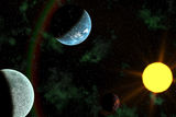 Planets with Sun Flare in Deep Space Stock Photo