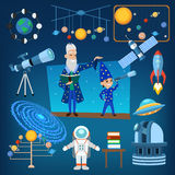 Planets and sun from our solar system astrology astronomy icons vector illustration, people education Stock Image