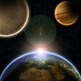 Planets with sunrise in the space Royalty Free Stock Photography