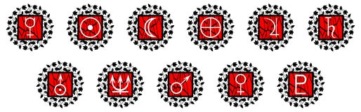 Planets symbols on red decoration isolated Stock Photo