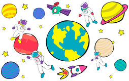 Planets Travel Dream Imagination Playful Space Universe Concept Royalty Free Stock Photos