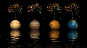 Planets and trees Royalty Free Stock Photo