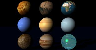 Planets in univers. Nine various planets in the universe Royalty Free Stock Images