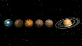 Planets in the universe. By a stary night: earth, venus, mars, mercury, neptune, jupiter and saturn Stock Images