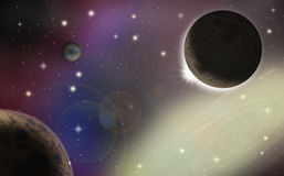 Planets in the universe with galaxy on background Royalty Free Stock Photo