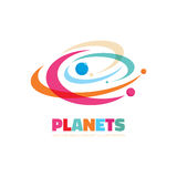 Planets - vector logo concept. Abstract space illustration. Solar system sign. Galaxy symbol. Design element Stock Photo