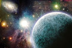 Planets in space. Planets in vivid space. 3D rendering Royalty Free Stock Photography