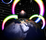Planets World Shows Solar System And Globalisation Stock Photography