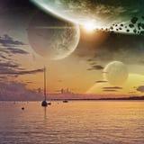Planetuje widok od plaży ilustracji