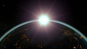 Planetuje ziemię przeciw powstającemu słońcu, błękitna atmosfera ilustracja 3 d ilustracja wektor