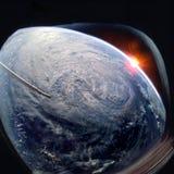 Planetuje ziemię i huragan od kosmosu od ISS okno zdjęcie royalty free