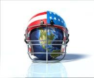 Planetuje ziemię ochraniającą futbolu amerykańskiego hełmem, malujący w Zdjęcie Royalty Free