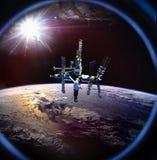 Planetuje ziemię od kosmosu od ISS okno zdjęcie royalty free