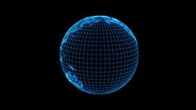 Planetuje ziemię Od linii, Futurystyczny komputeru styl, 3D rendering zapętlający z Apha zbiory wideo