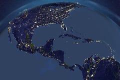 Planetuje ziemię od przestrzeni pokazuje Ameryka Południowa w nocy royalty ilustracja