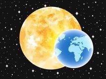 Planetuje ziemię w tle słońce abstrakt przeciw tło żeńskiej zewnętrznej portreta przestrzeni wektor Zdjęcia Royalty Free