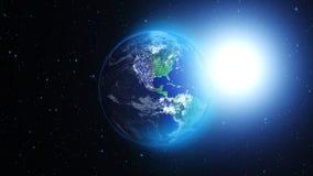 Planetuje ziemię w, ziemię i galaxy w mgławicy chmurach wszechświacie lub przestrzeni, Fotografia Stock