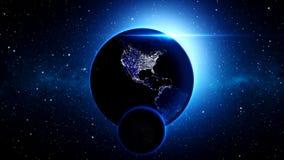 Planetuje ziemię w, ziemię i galaxy w mgławicy chmurach wszechświacie lub przestrzeni, Obraz Royalty Free