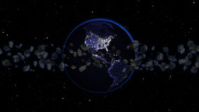 Planetuje ziemię z asteroidą w, kulą ziemską i galaxy w mgławicy chmurze z meteorami wszechświacie lub przestrzeni, Zdjęcia Stock