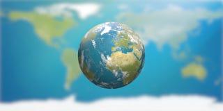 Planetuje ziemię z chmurami, Europa i częścią, Azja 3D- i Afryka Zdjęcia Royalty Free