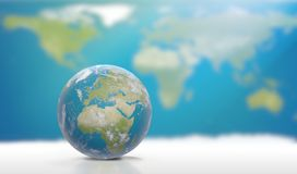 Planetuje ziemię z chmurami, Europa i częścią, Azja 3D- i Afryka Obrazy Stock