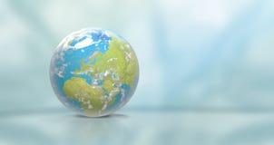Planetuje ziemię z chmurami, Europa i częścią, Azja 3D- i Afryka Zdjęcie Stock