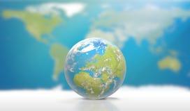 Planetuje ziemię z chmurami, Europa i częścią, Azja 3D- i Afryka Zdjęcie Royalty Free