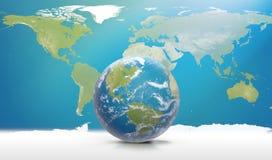 Planetuje ziemię z chmurami, Północna Ameryka i Ameryka Południowa, 3D-Ill Obrazy Stock