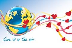 Planetuje ziemię z obrączkami ślubnymi, sercami i colorf, Ilustracji