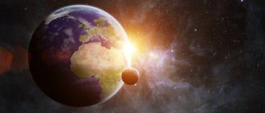 Planetuje ziemię w astronautycznych 3D renderingu elementach ten wizerunku furnis Obrazy Royalty Free