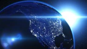 Planetuje ziemię w, ziemię i galaxy w mgławicy chmurach wszechświacie lub przestrzeni, Zdjęcia Stock