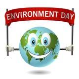 Planetuje ziemski ono uśmiecha się i trzymać plakatowy dla światowego środowiska dnia Zdjęcia Royalty Free